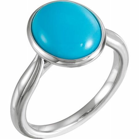 Genuine Turquoise Ring in Sterling Silver 12x10 mm Oval Cabochon Turquoise Ring