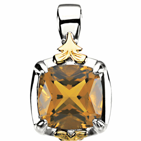 Fabulous Sterling Silver & 14 Karat Yellow Gold Cushion Genuine Honey Quartz Pendant