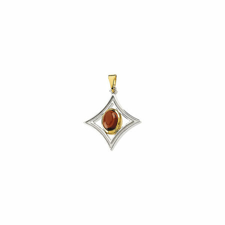 Sterling Silver & 14 Karat Yellow Gold Mozambique Garnet Pendant