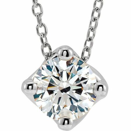 Genuine Diamond Necklace in Sterling Silver 3/4 Carat Diamond Solitaire 16-18