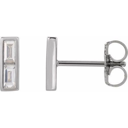 Natural Diamond Earrings in Sterling Silver 3/4 Carat Diamond Bar Earrings