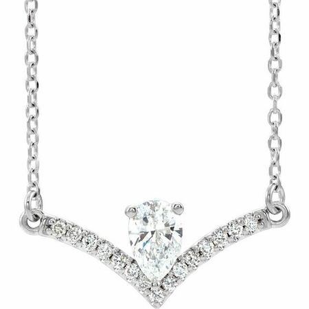 Real Diamond Necklace in Sterling Silver 3/8 Carat Diamond 16