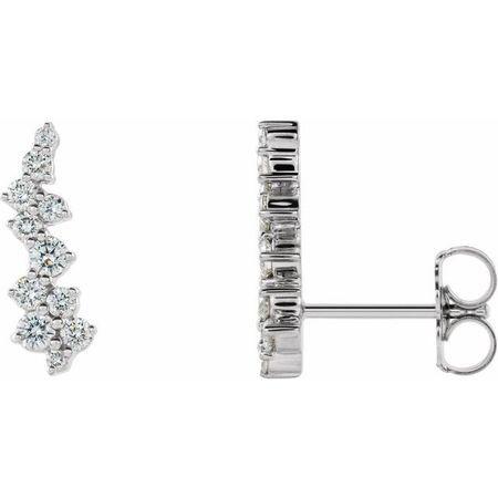 Sterling Silver .375 Carat Weight Diamond Ear Climbers