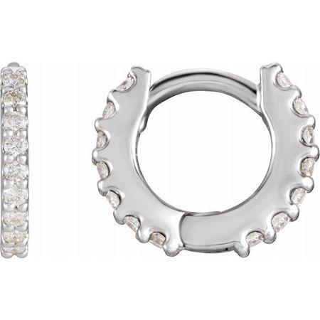 Natural Diamond Earrings in Sterling Silver 3/8 Carat Diamond Hinged 14 mm Hoop Earrings