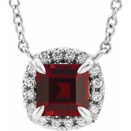 Red Garnet Necklace in Sterling Silver 3x3 mm Square Mozambique Garnet & .05 Carat Diamond 16