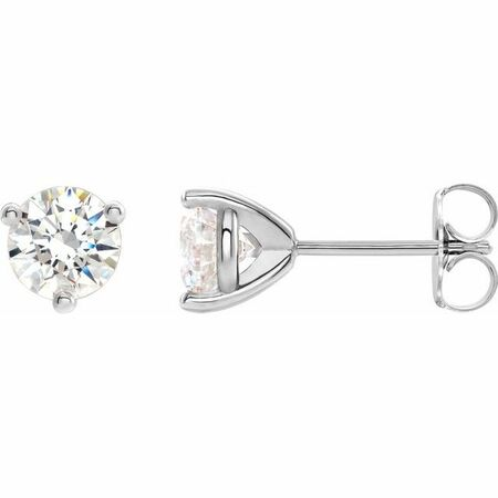 Moissanite Earrings in Sterling Silver 4.5 mm Round Stuller Created Moissanite Earrings