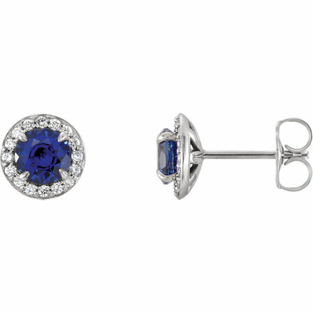 Sterling Silver 4mm Round Genuine Chatham Blue Sapphire & 0.17 Carat Diamond Earrings