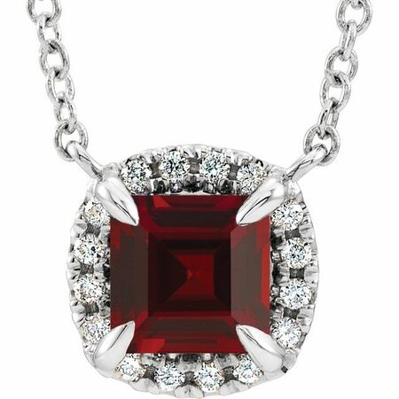 Red Garnet Necklace in Sterling Silver 4x4 mm Square Mozambique Garnet & .05 Carat Diamond 16