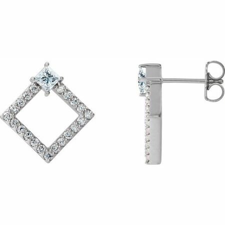 Natural Diamond Earrings in Sterling Silver 5/8 Carat Diamond Earrings
