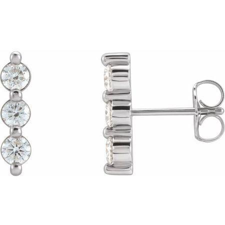 Natural Diamond Earrings in Sterling Silver 5/8 Carat Diamond Three-Stone Bar Earrings