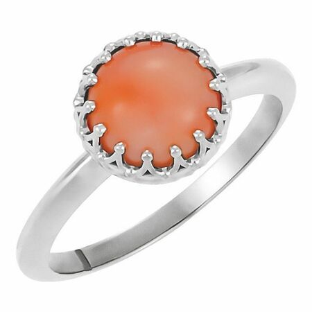 Sterling Silver 5 mm Round Pink Coral Ring