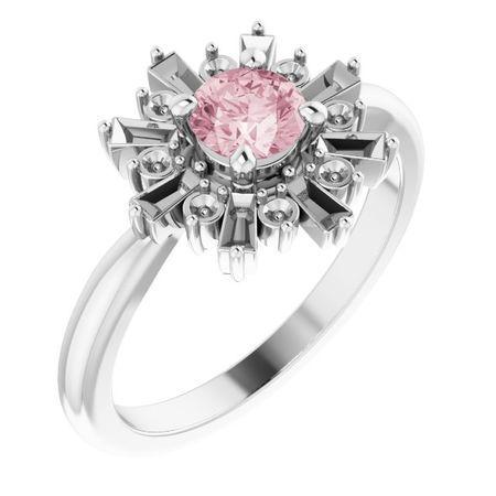 Pink Morganite Ring in Sterling Silver 5 mm Round Pink Morganite & 3/8 Carat Diamond Ring