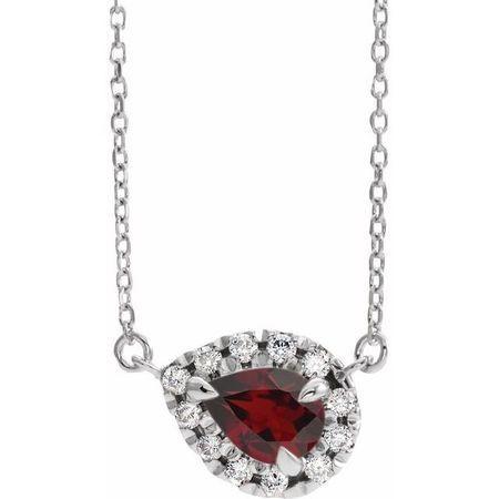 Red Garnet Necklace in Sterling Silver 5x3 mm Pear Mozambique Garnet & 1/8 Carat Diamond 16