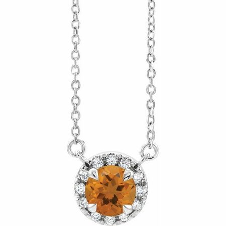 Golden Citrine Necklace in Sterling Silver 6.5 mm Round Citrine & 1/5 Carat Diamond 16