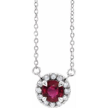 Red Garnet Necklace in Sterling Silver 6 mm Round Mozambique Garnet & 1/5 Carat Diamond 16