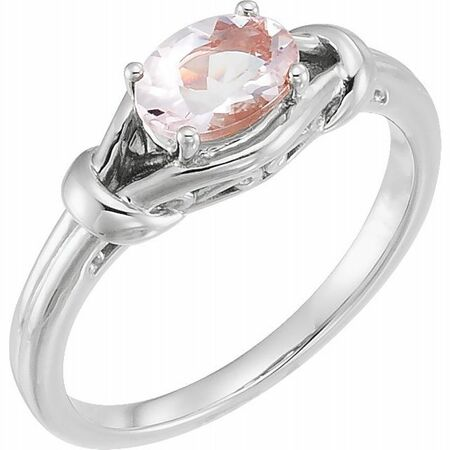 Pink Morganite Ring in Sterling Silver 6x4 mm Oval Morganite Knot Ring