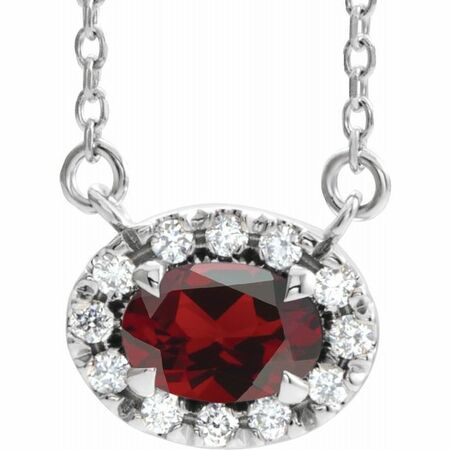 Red Garnet Necklace in Sterling Silver 6x4 mm Oval Mozambique Garnet & 1/10 Carat Diamond 16