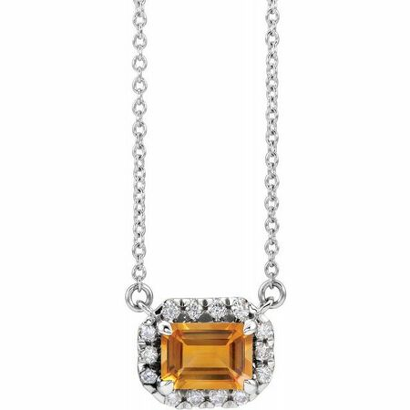 Golden Citrine Necklace in Sterling Silver 7x5 mm Emerald Citrine & 1/5 Carat Diamond 18