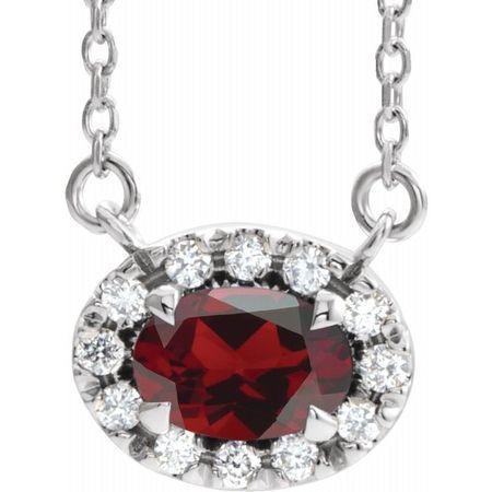Red Garnet Necklace in Sterling Silver 7x5 mm Oval Mozambique Garnet & 1/6 Carat Diamond 16
