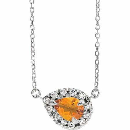 Golden Citrine Necklace in Sterling Silver 7x5 mm Pear Citrine & 1/6 Carat Diamond 16
