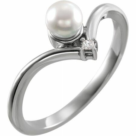 Sterling Silver Akoya Cultured Pearl & .025 Carat Weight Diamond Ring