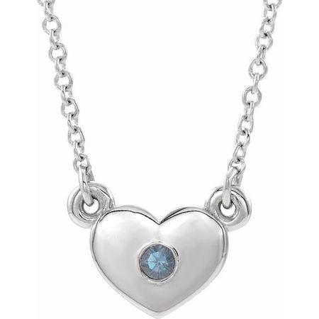 Sterling Silver Alexandrite Heart 16