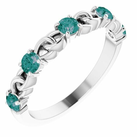 Genuine Alexandrite Ring in Sterling Silver Alexandrite Stackable Link Ring