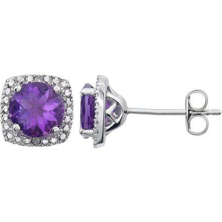 Sterling Silver Amethyst & .015 Carat Weight Diamond Earrings