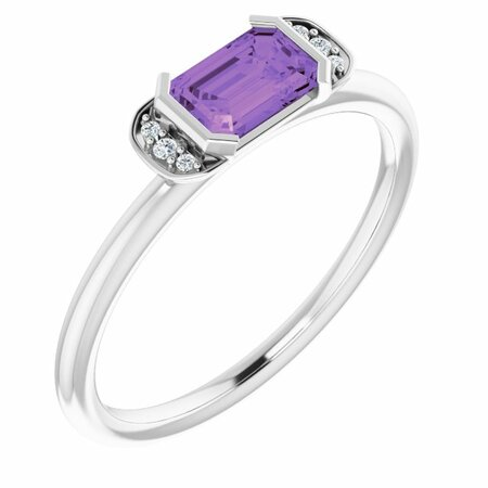 Sterling Silver Amethyst & .02 CTW Diamond Stackable Ring