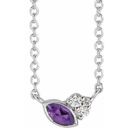Sterling Silver Amethyst & .03 Carat Weight Diamond 16