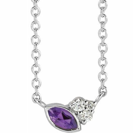 Sterling Silver Amethyst & .03 Carat Weight Diamond 18