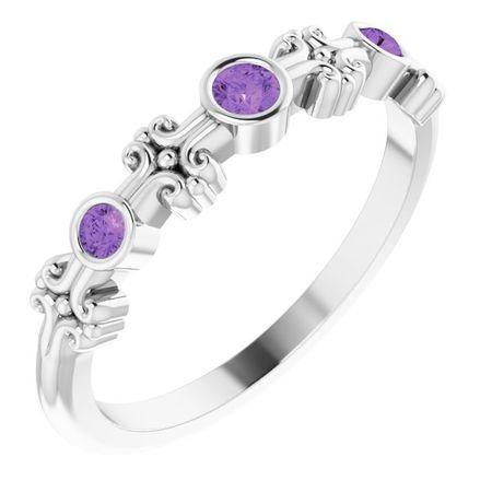 Sterling Silver Amethyst Bezel-Set Ring