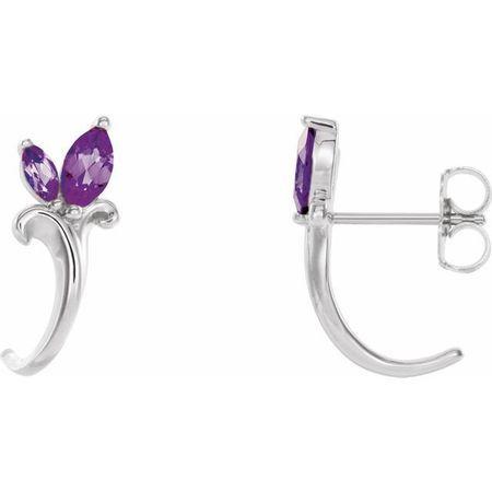 Sterling Silver Amethyst Floral-Inspired J-Hoop Earrings