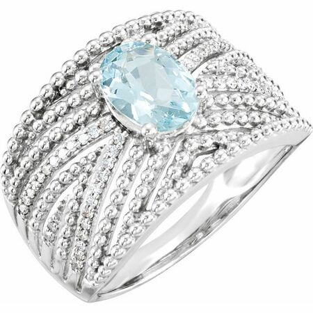 Sterling Silver Aquamarine & .17 Carat Weight Diamond Ring