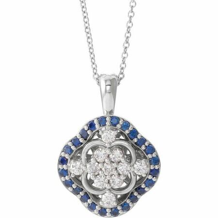 Real Diamond Necklace in Sterling Silver Genuine Sapphire & 1/3 Carat Diamond 16-18