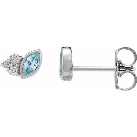 Genuine Zircon Earrings in Sterling Silver Genuine Zircon & .05 Carat Diamond Earrings