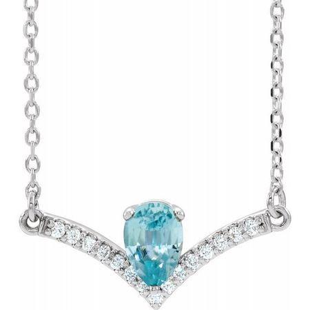 Genuine Zircon Necklace in Sterling Silver Genuine Zircon & .06 Carat Diamond 16