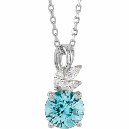 Genuine Zircon Necklace in Sterling Silver Genuine Zircon & 1/10 Carat Diamond 16-18