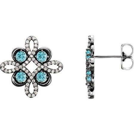 Genuine Zircon Earrings in Sterling Silver Genuine Zircon & 1/4 Carat Diamond Earrings