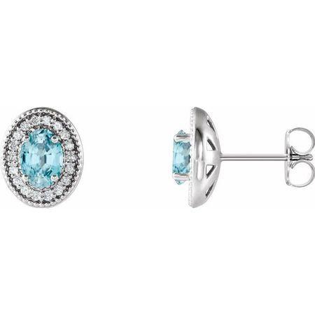 Genuine Zircon Earrings in Sterling Silver Genuine Zircon & 1/5 Carat Diamond Halo-Style Earrings