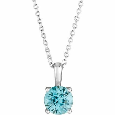 Genuine Zircon Necklace in Sterling Silver Genuine Zircon 16-18