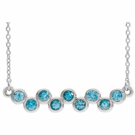 Genuine Zircon Necklace in Sterling Silver Genuine Zircon Bezel-Set Bar 16-18