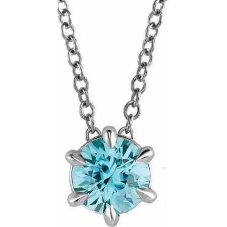 Genuine Zircon Necklace in Sterling Silver Genuine Zircon Solitaire 16-18