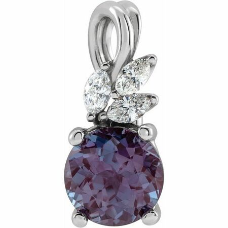 Created Alexandrite Pendant in Sterling Silver Chatham Created Alexandrite & 1/10 Carat Diamond Pendant