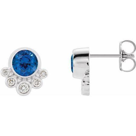 Genuine Chatham Created Sapphire Earrings in Sterling Silver Chatham Created Genuine Sapphire & 1/8 Carat Diamond Earrings