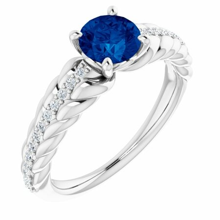 Chatham Created Sapphire Ring in Sterling Silver Chatham Created Genuine Sapphire & 1/8 Carat Diamond Ring