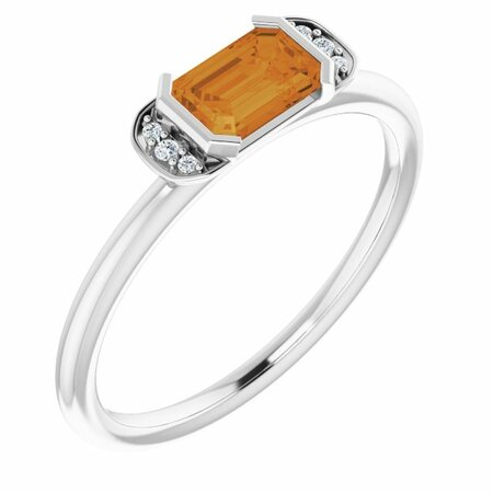 Sterling Silver Citrine & .02 Carat Weight Diamond Stackable Ring