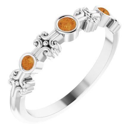 Sterling Silver Citrine Bezel-Set Ring