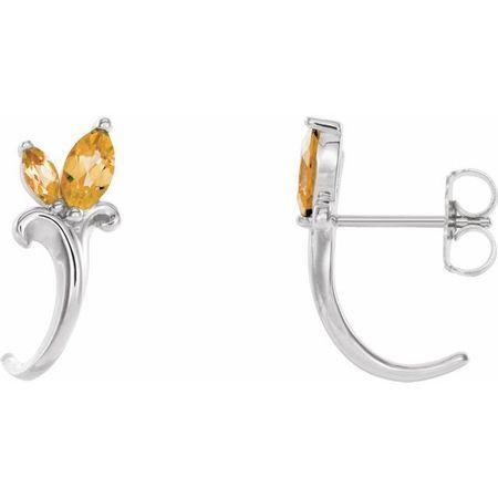 Sterling Silver Citrine Floral-Inspired J-Hoop Earrings