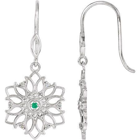 Sterling Silver Emerald & .06 Carat Diamond Earrings